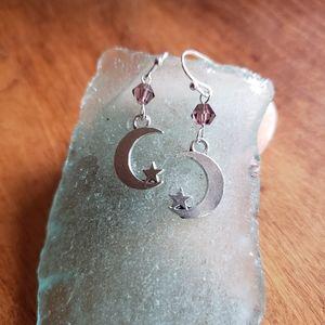 Handmade Swarovski Crystal Moon & Star Earrings